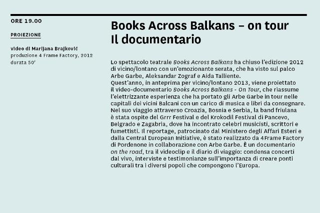 130509 Book across Balkans Vicino Lontano 2013
